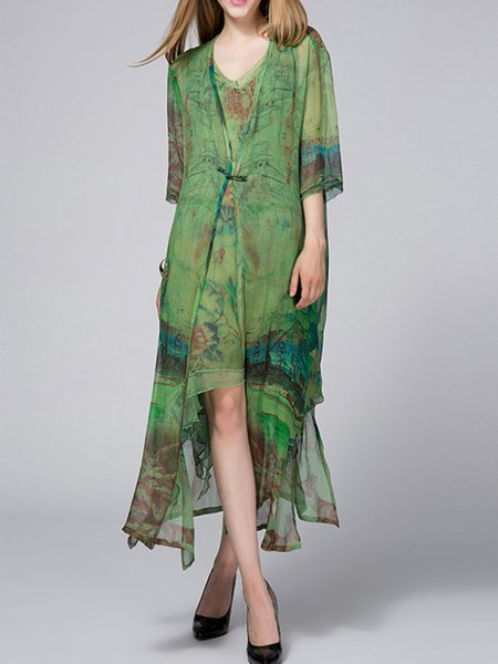 Green Asymmetrical Casual Cape