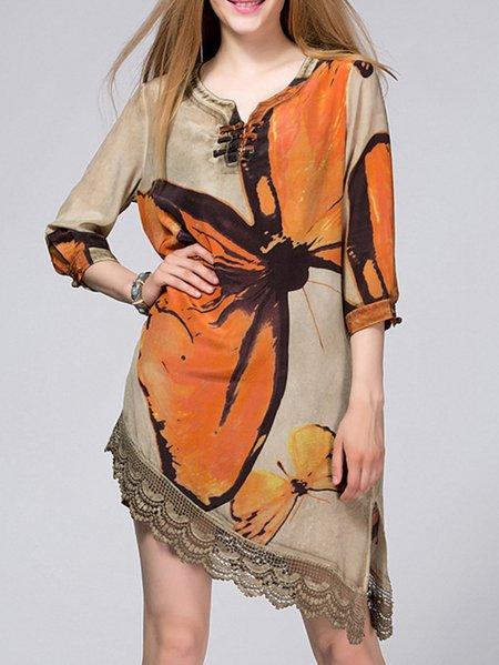 Apricot 3/4 Sleeve Printed Silk Animal Print Mini Dress