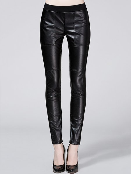 Black Paneled Plain Street Cotton Leather Pants