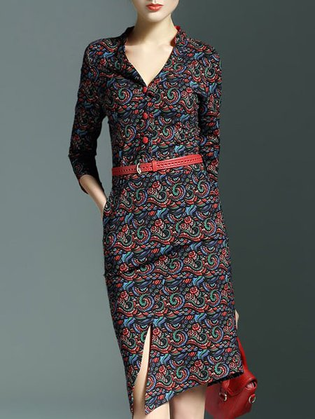 Casual 3/4 Sleeve Sheath Midi Dress