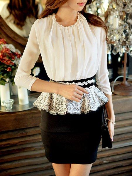 3/4 Sleeve Work Polyester Sheath Mini Dress