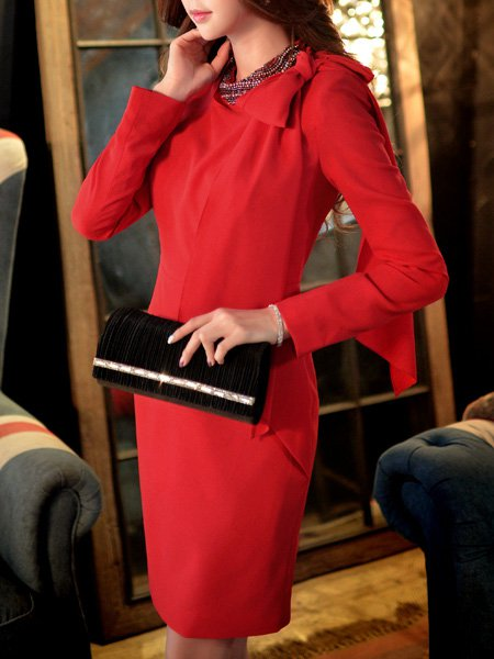 Red Crew Neck Sheath Long Sleeve Midi Dress