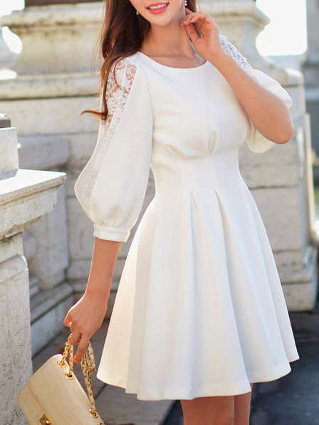 Plain Balloon Sleeve Folds Girly Mini Dress