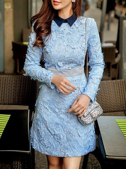 Blue Long Sleeve Sheath Appliqued Mini Dress