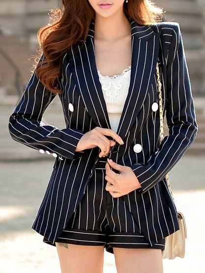 Stripes Long Sleeve Work Blazer