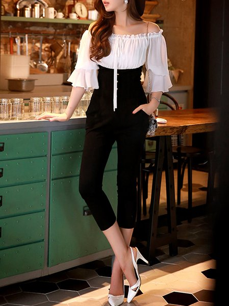 Work Half Sleeve Color-block Jumpsuit