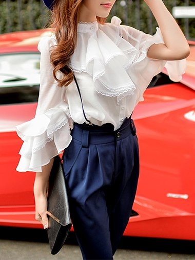 Ruffled Plain 3/4 Sleeve H-line Sweet Blouse