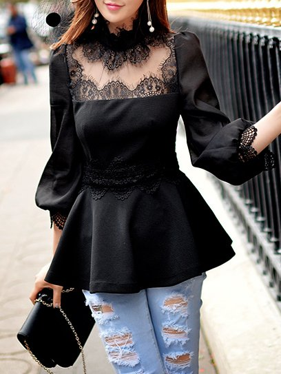Plain Paneled Long Sleeve Sweet Blouse