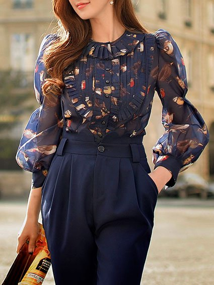 Sweet Polyester Balloon Sleeve Crew Neck Floral Blouse