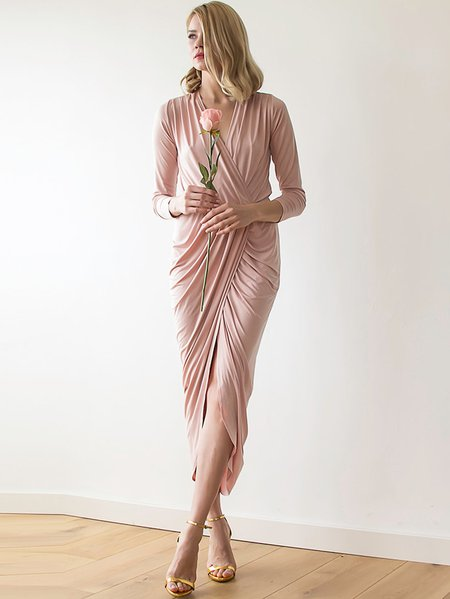 Pink Plain Hand Made Polyester Sleeveless Maxi Dress