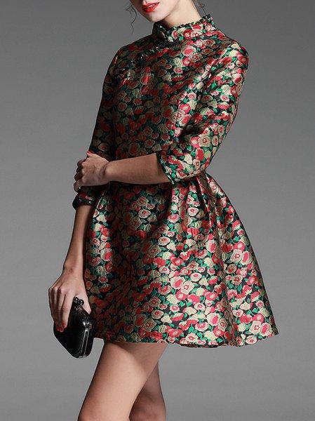 Half Sleeve Polyester Stand Collar Casual Mini Dress
