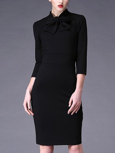 Elegant 3/4 Sleeve Crew Neck Sheath Midi Dress