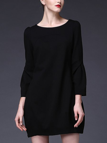 Plain Casual Crew Neck Shift Balloon Sleeve Mini Dress