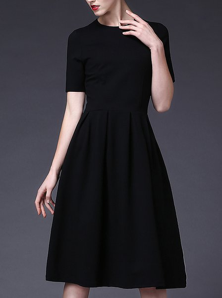 Black Shirred Vintage A-line Crew Neck Midi Dress