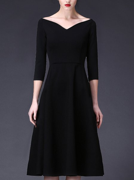 Black 3/4 Sleeve Spandex A-line Solid Party Dress