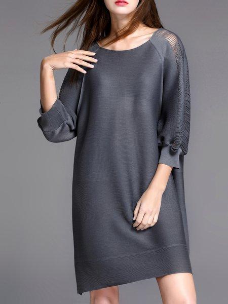 Shift 3/4 Sleeve Simple Midi Dress