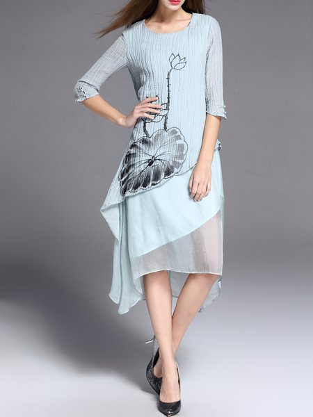 Hand-drawn Half Sleeve Simple Midi Dress