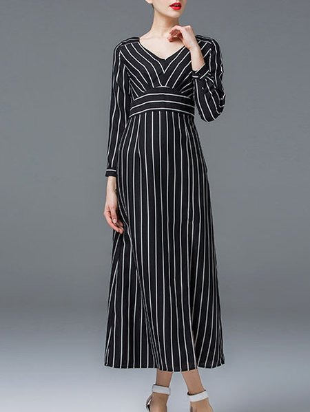 Black Polyester Long Sleeve Sheath Maxi Dress