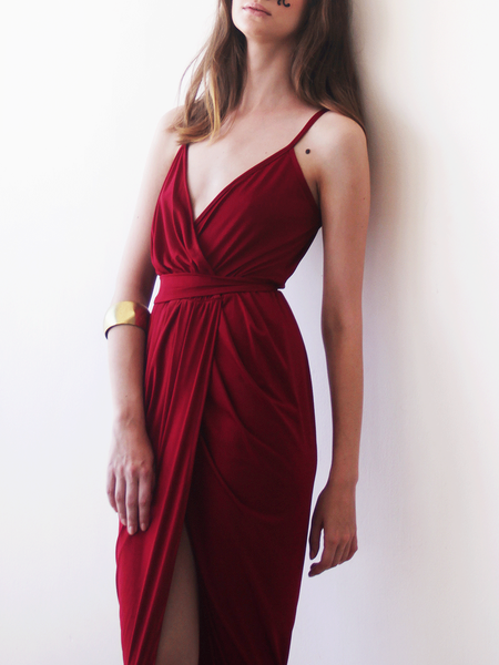 Wine red tulip maxi gown
