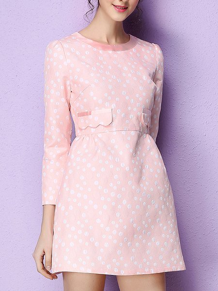 Pink A-line Girly Jacquard Mini Dress