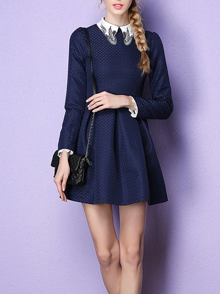Plain Girly Embroidered Long Sleeve Mini Dress