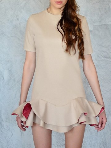 Cotton-blend Casual Long Sleeve Plain Mini Dress