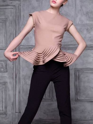 Beige Crew Neck Viscose Elegant Solid Short Sleeved Top