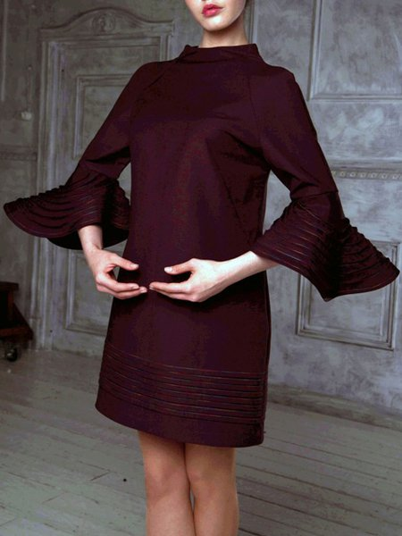 Long Sleeve Plain Casual Mini Dress
