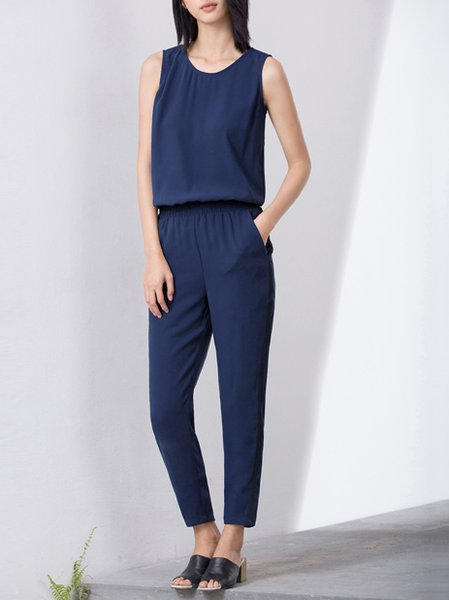 Sleeveless Stripes Casual Pockets H-line Jumpsuit