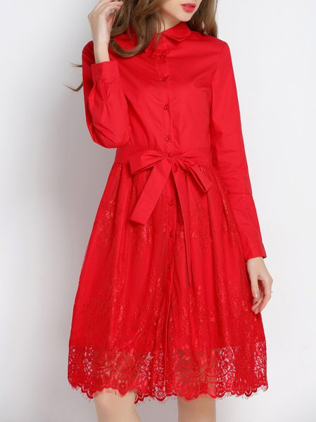 Red Lace Long Sleeve Paneled Midi Dress