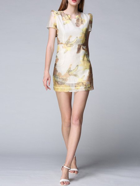 Short Sleeve Printed Abstract Casual Silk Mini Dress