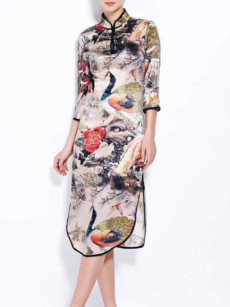 3/4 Sleeve Casual Sheath Midi Dress
