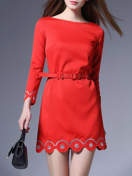 Red Plain Slash Neck H-line Girly Mini Dress