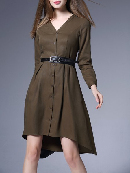 Green Asymmetric Long Sleeve V Neck Midi Dress with Belt