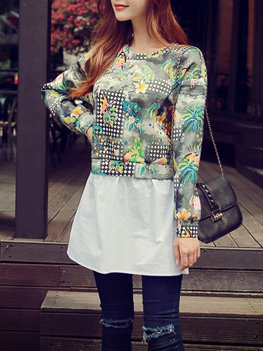 Gray H-line Printed Spandex Long Sleeve Two Piece Sweatshirt