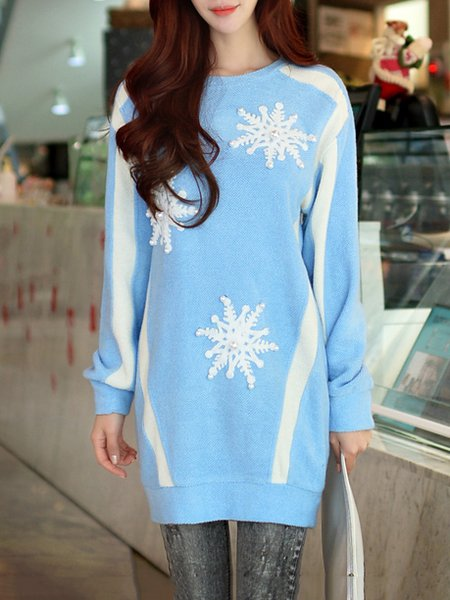 Blue Floral Long Sleeve Acrylic Appliqued Mini Dress