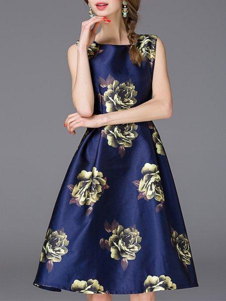 Floral-print Big Hem Midi Dress
