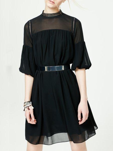 Black Pleated Half Sleeve Plain Midi Dress