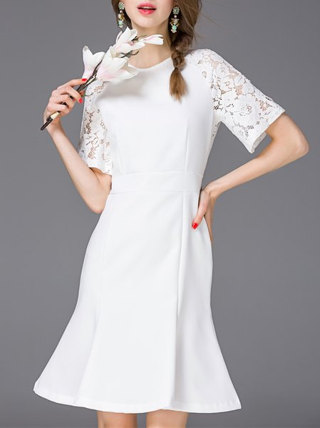 White Half Sleeve Ruffled Plain Midi Dress