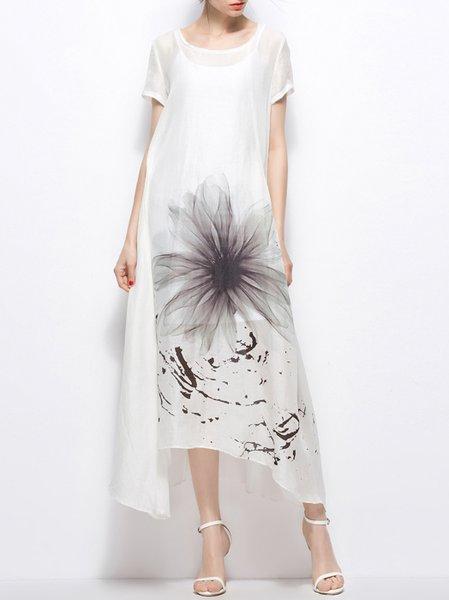 White Crew Neck Short Sleeve Linen Floral Maxi Dress