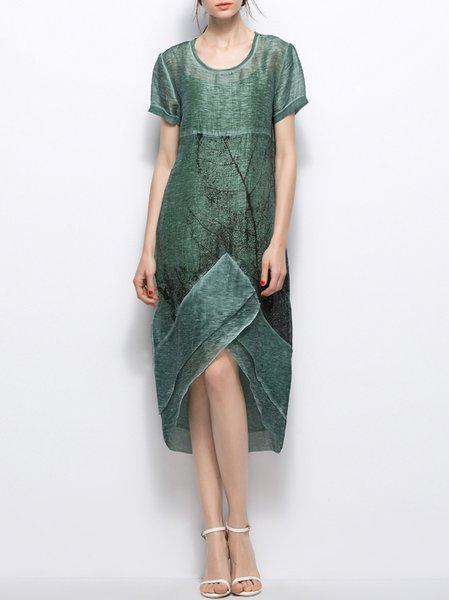 Green Abstract Crew Neck Simple Asymmetric Midi Dress