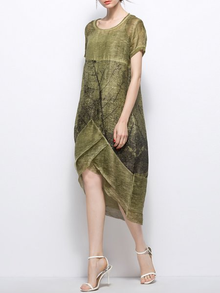 Green Statement Abstract Linen Midi Dress