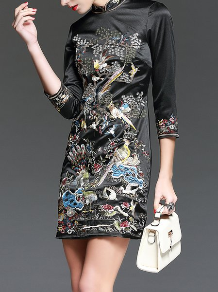 Black Shift Embroidery Vintage Floral Mini Dress