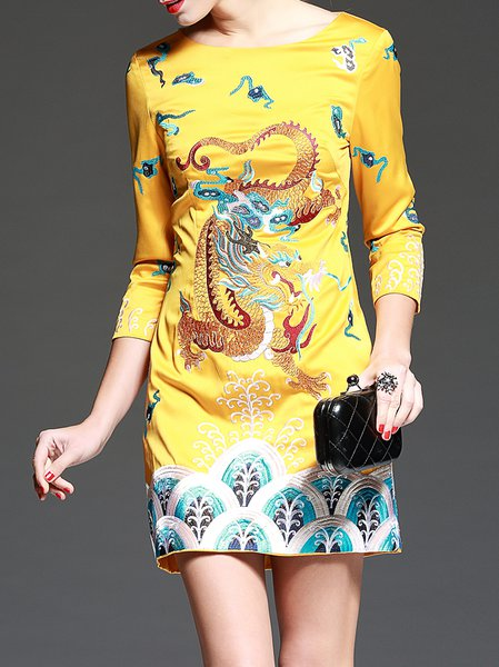 Yellow Embroidery 3/4 Sleeve Mini Dress