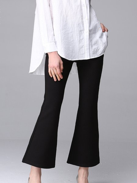 Black Pockets Plain Work Viscose Flared Pants