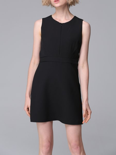 Black Plain Sleeveless A-line Mini Dress
