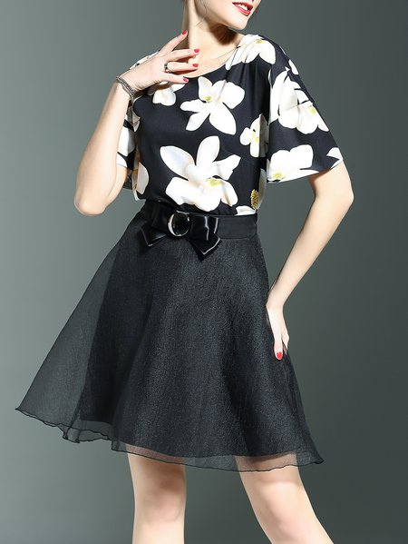 Multicolor Floral-print Shift Short Sleeve Two Piece Mini Dress