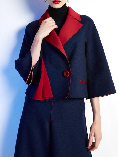 Navy Blue Wool Blend 3/4 Sleeve Lapel Coat