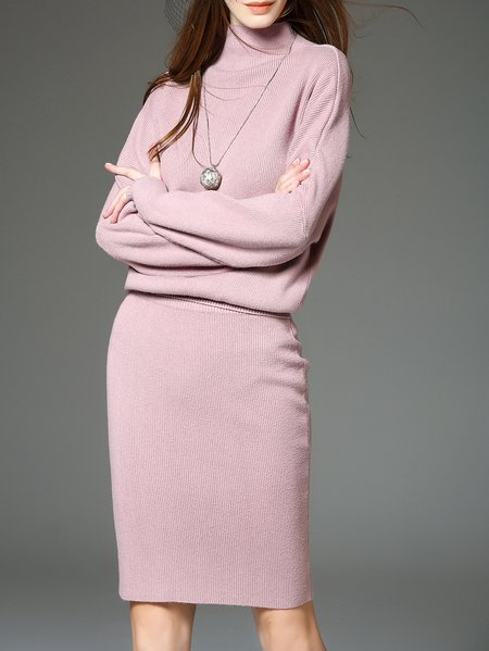 Pink Long Sleeve H-line Two Piece Midi Dress
