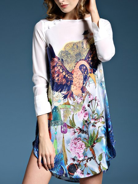 Multicolor Silk Floral-print Long Sleeve Mini Dress